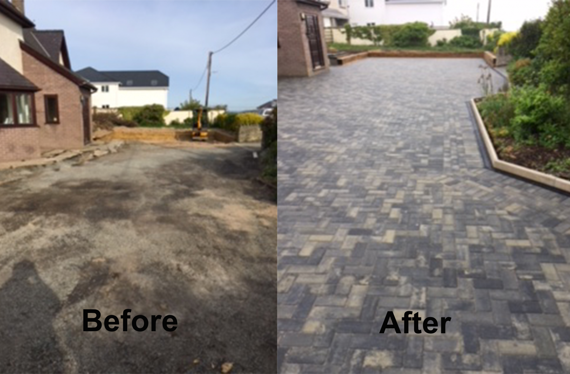 Before and after - new driveway with drainage