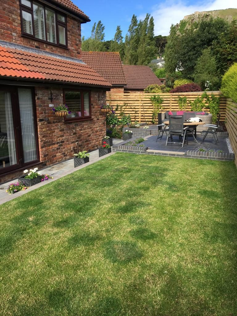 Deganwy new lawn and ceramic patio