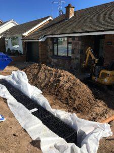 Installing soakaway system north wales